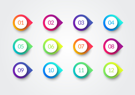 Illustration for Vector Arrow Bullet Point Colorful Gradient 3d Markers With Number 1 To 12 - Royalty Free Image