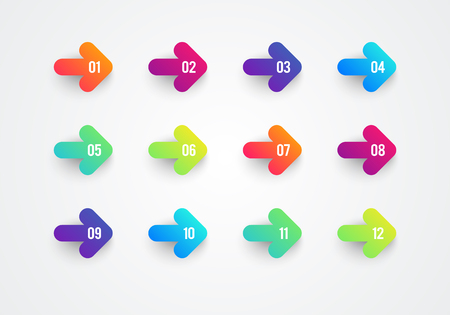 Ilustración de Vector Abstract Flat Colorful Gradient Arrow Bullet Point Numbers 1 to 12 - Imagen libre de derechos