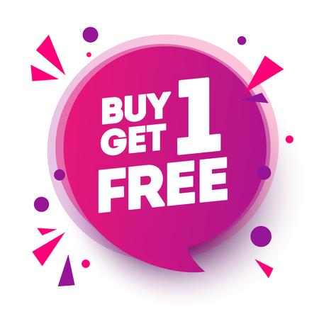 Illustration pour Vector Illustration Buy 1 Get 1 Free, Sale Tag, Banner Design Speech Bubble Template - image libre de droit