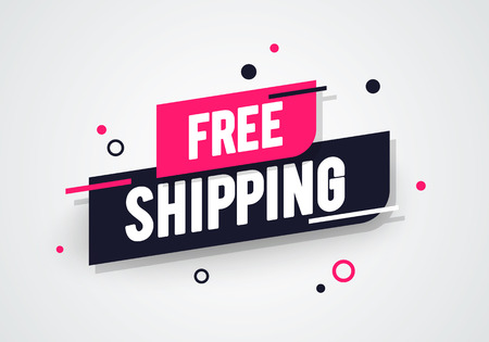 Ilustración de Vector Illustration Modern Free Shipping Shop Now Advertisement Label - Imagen libre de derechos