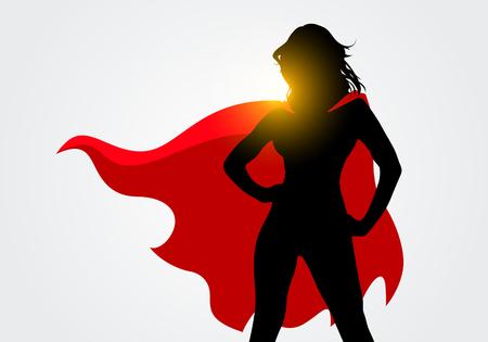 Vektor für Vector Illustration Female Superhero Silhouette With Cape In Action Poses - Lizenzfreies Bild