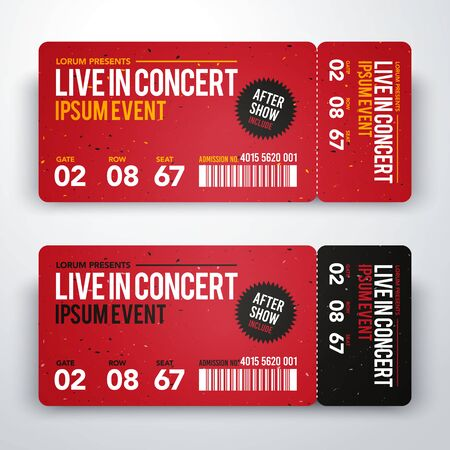 Illustration pour Vector illustration of concert ticket design template for party or festival - image libre de droit