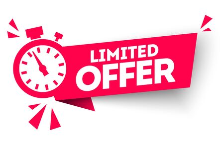 Illustration pour Modern red vector banner ribbon limited offer with stop watch. - image libre de droit