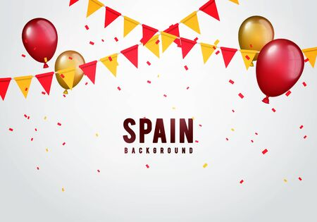Illustration for Vector illustration spain garland flag with confetti and balloons for spanish celebration template banner. - Royalty Free Image