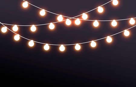 Illustration for Vector Illustration Fairy Lights On Dark Background - Royalty Free Image