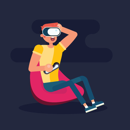 Funny rude boy seatting on the chair and playing in virtual reality. Flat design illustration. Good for concept stores and web banners.