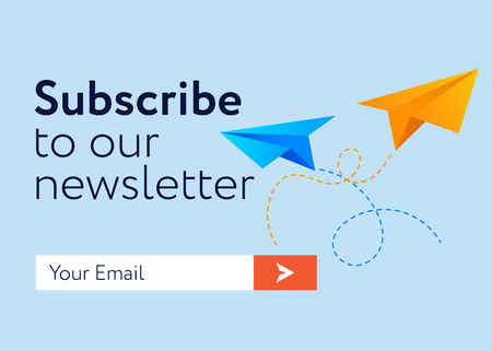 Illustration pour Subscribe Now For Our Newsletter (Flat Style Vector Illustration UI UX Design) with Text Box and Subscribe Button Template - image libre de droit
