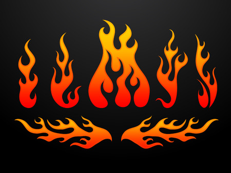 Illustration for Tribal fire flames set vector illustration - Royalty Free Image
