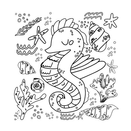 Illustration for Sea horse, vector illustration of marine tropical fish. Totem animal for tattoos. Design element. Linear stylized image of of marine life. Print on t shirt, cover. Mascot. - Royalty Free Image