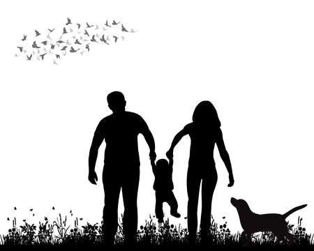 Illustration for isolated, silhouette family walking on grass, playing - Royalty Free Image