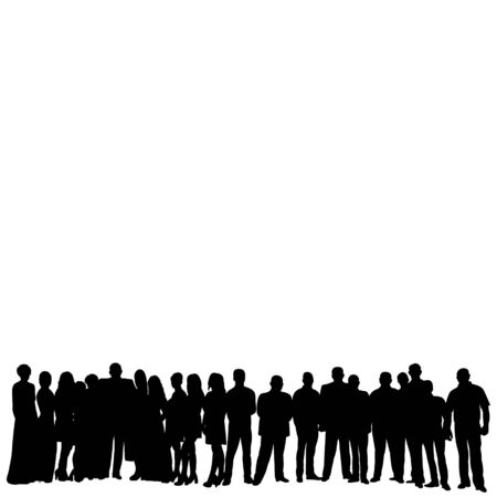 Illustration for silhouette a crowd of people standing - Royalty Free Image