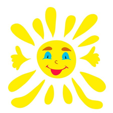 Illustration for vector, sun character - Royalty Free Image