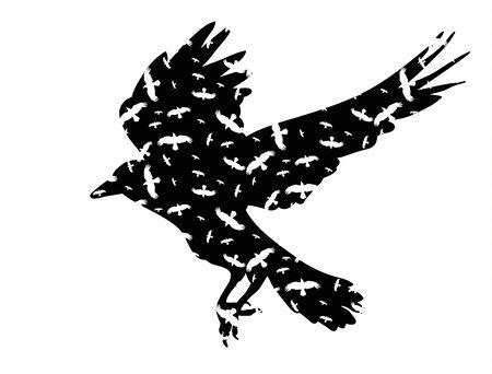 Illustration pour silhouette of the raven flies - image libre de droit