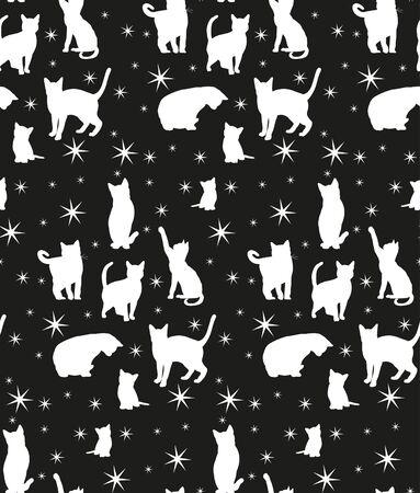 Ilustración de seamless background with silhouette of cats - Imagen libre de derechos