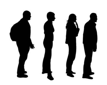 Illustration pour isolated silhouette turn, crowd - image libre de droit