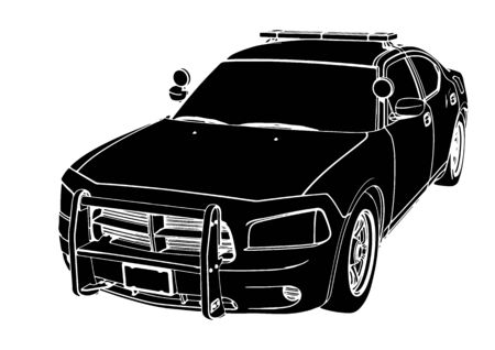 Illustration for silhouette police car vector - Royalty Free Image