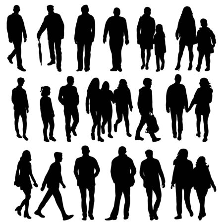 Illustration pour  isolated collection of silhouettes of walking people - image libre de droit