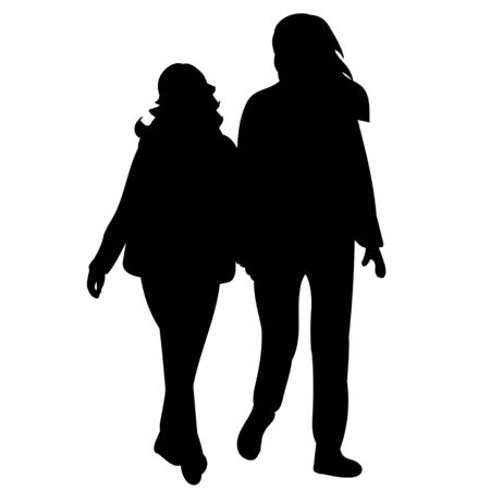 Illustration for vector, isolated black silhouette people go - Royalty Free Image