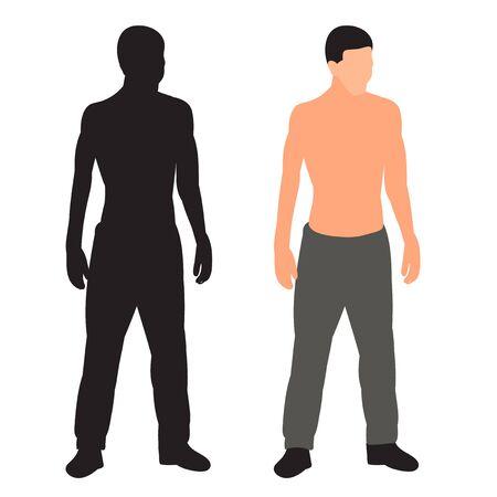 Illustration pour man stands in a flat style, without a face, silhouette - image libre de droit