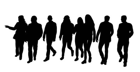 Illustration pour isolated silhouette of walking people group on white background - image libre de droit