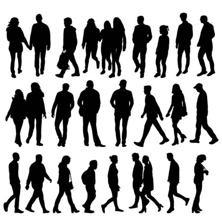 Illustration pour isolated silhouette people collection on white background - image libre de droit