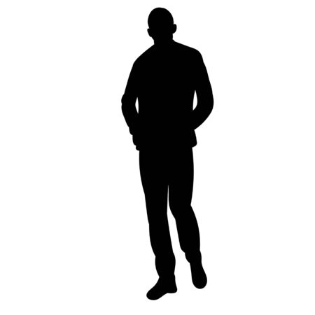 Illustration pour isolated silhouette man is walking on a white background - image libre de droit