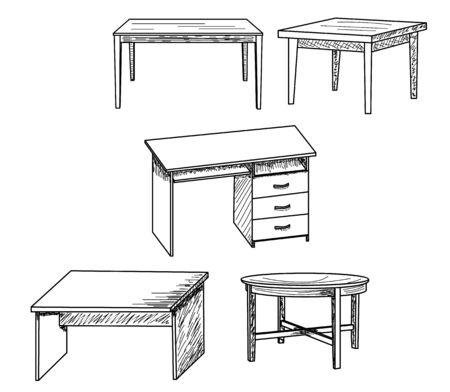 Illustration pour  isolated sketch of a table, set - image libre de droit