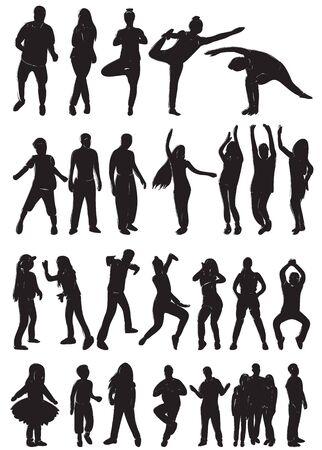 Illustration pour silhouette of dancing people set - image libre de droit