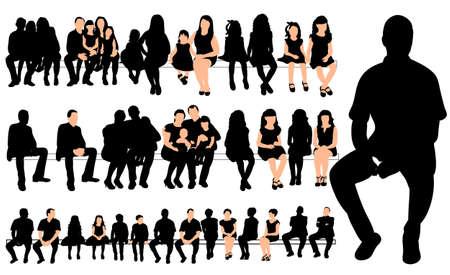 Illustration pour Vector, collection of silhouettes people sitting - image libre de droit