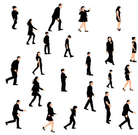 Ilustración de Vector, isolated silhouette people walking sideways set - Imagen libre de derechos