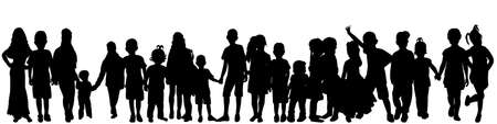 Illustration pour vector isolated silhouette of a crowd of children, collection - image libre de droit