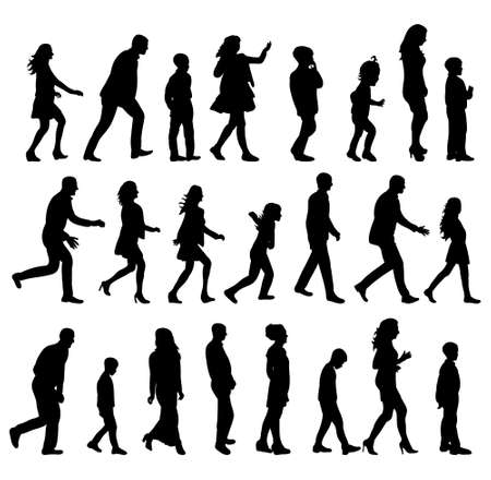 Illustration pour silhouette people walking sideways collection - image libre de droit
