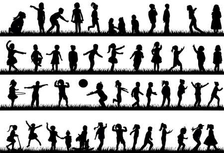 Illustration for silhouette of children dancing, playing and jumping on the grass, collection - Royalty Free Image