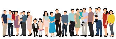 Illustration pour silhouette people, crowd, white background, flat style - image libre de droit