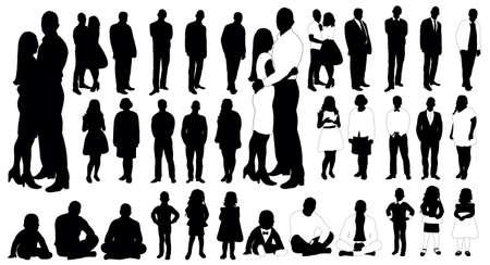 Illustration pour Set of people silhouettes, vector - image libre de droit