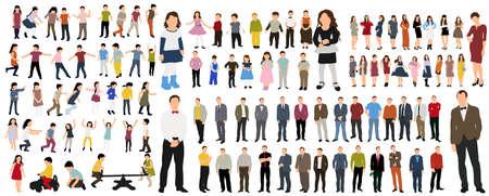 Illustration pour Vector illustration of a collection of people flat style, isometric people women, man, children - image libre de droit