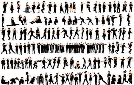 Illustration pour Vector, silhouette of children, big collection, children play and dance - image libre de droit