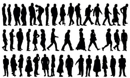 Illustration pour silhouette people collection, set - image libre de droit