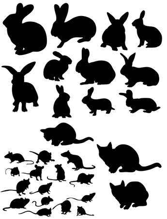 Illustration for Vector, isolated silhouette of rat, cats and rabbits collection - Royalty Free Image