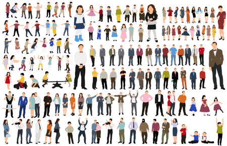 Illustration pour isolated, collection isometric people, flat style - image libre de droit