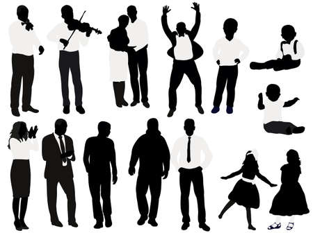 Illustration pour Vector, isolated, black and white silhouette people, collection, set - image libre de droit