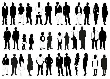 Illustration pour Vector, isolated, silhouettes of people black and white collection - image libre de droit
