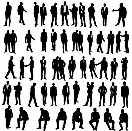 Illustration pour Vector, isolated, silhouette of man, go stand, set - image libre de droit