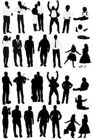 Illustration pour silhouette of people collection, set of silhouettes - image libre de droit