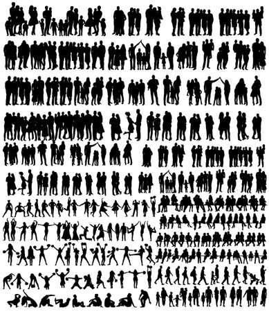Illustration pour vector, isolated, people silhouettes set - image libre de droit