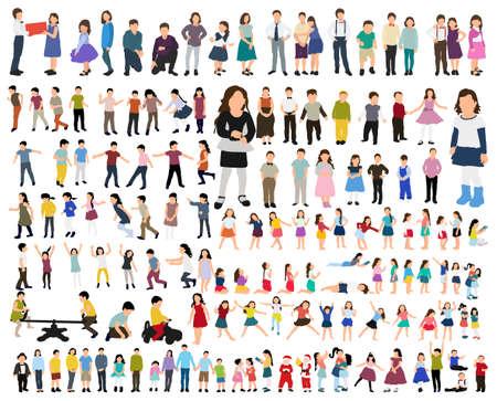 Illustration pour flat style kids set - image libre de droit
