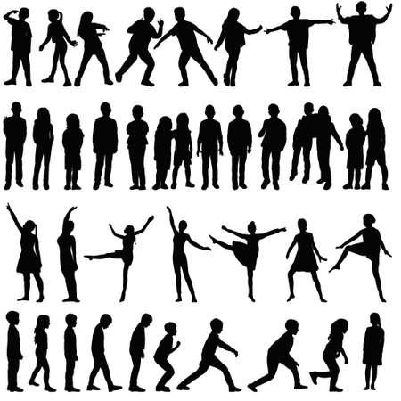 Illustration pour isolated, silhouette set kids, people, dance - image libre de droit