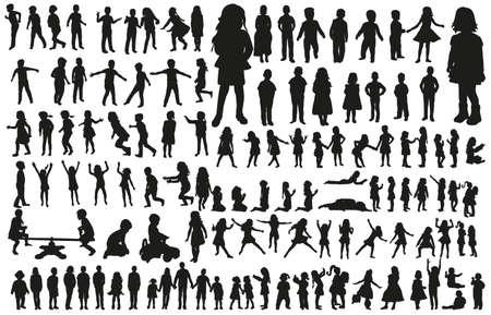 Illustration pour large collection of silhouettes of children - image libre de droit