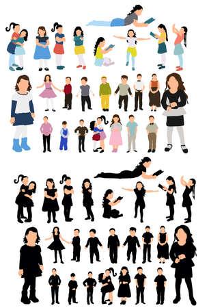 Illustration pour isometric people, children, silhouette - image libre de droit