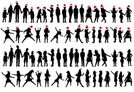 Photo pour set of kids silhouettes, new year, christmas - image libre de droit